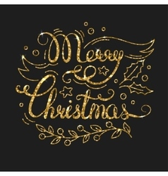 Merry Christmas Golden Lettering Design vector