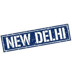 New delhi blue square stamp vector