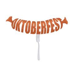 oktoberfest sausage on fork emblem meat lettering vector image