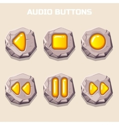 old stone audio buttons computer icons vector image