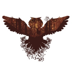 Owl and Autumn Forest Landscape vector
