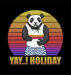 panda holiday sunset retro vector image