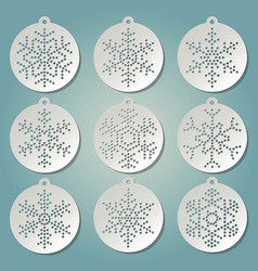 Paper christmas balls with snow flakes vector