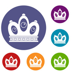 Queen crown icons set vector