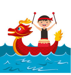 Red dragon man with drum sea festival chinese vector