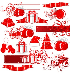 red holiday icons vector image