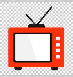 retro tv screen icon in flat style old television vector image