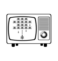 Retro videogame on television screen in black and vector