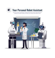 Robots scientific research composition vector