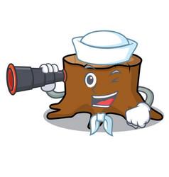 sailor with binocular tree stump mascot cartoon vector image