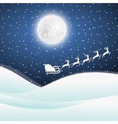 Santa claus goes to sled reindeer vector