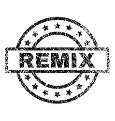 Scratched textured remix stamp seal vector