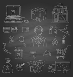 set of hand drawn e-commerce icons vector image