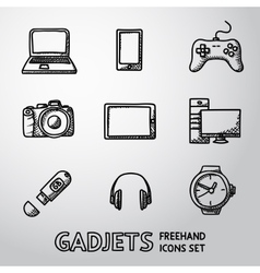 Set of handdrawn GADGET icons with - notebook vector