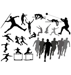set track and field athletes silhouettes vector image