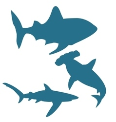 Shark silhouettes isolated on white vector