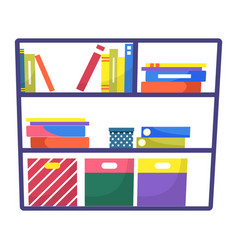 shelf with books and file folders for work vector image