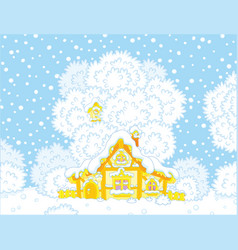 Small log hut snow-covered on christmas vector