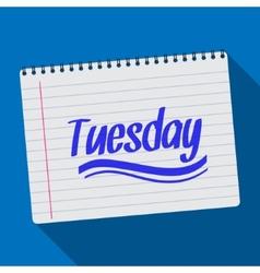 Spiral calendar tuesday notebook notepad long vector