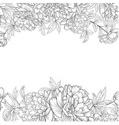 Spring flowers bouquet of peony garland vector
