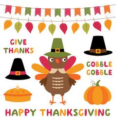 Thanksgiving symbols cartoon set - a turkey hats vector