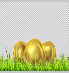 three golden eggs on a grass vector image