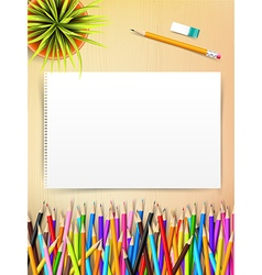 Top view of stationary blank paper and color vector