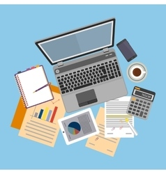Top view workplace with documents and laptop vector