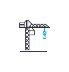 tower crane thin line stroke icon tower vector image