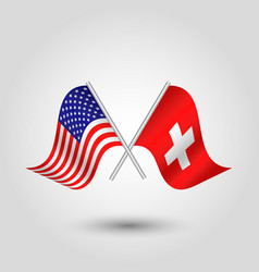 Two crossed american and swiss flags vector