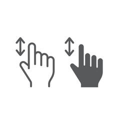 vertical scroll line and glyph icon finger and vector image