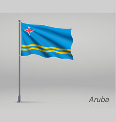 Waving flag aruba - province netherlands vector