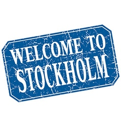 Welcome to Stockholm blue square grunge stamp vector