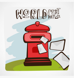 words post day red mail box vector image
