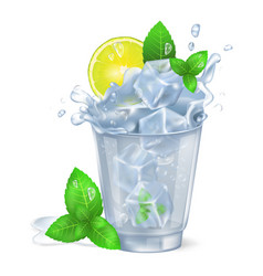faceted glass of mojito with ice vector image vector image