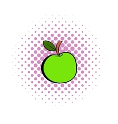 Green apple icon comics style vector image vector image