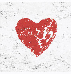 grunge red heart on monochrome distressed vector image vector image