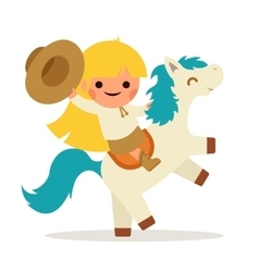 Little happy girl ride horse pony cowboy cowgirl vector