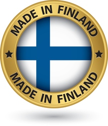 Made in Finland gold label with flag vector image vector image