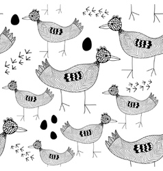 Seamless pattern with black and white birds vector image vector image