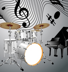 Drum set and piano vector image