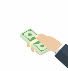 hand giving dollars stack payment transaction vector image