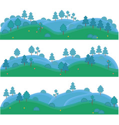 isolated art for games hills with trees and vector image