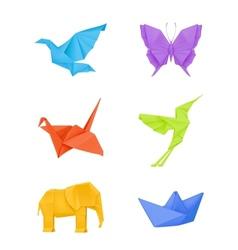 Origami set multicolored vector image vector image