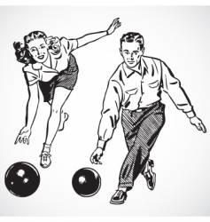 retro bowling vector image