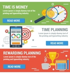 Three horizontal banners TIME MANAGEMENT vector image vector image