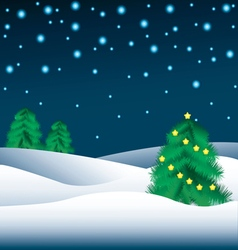 Christmas trees in the snow and the starry night s vector image vector image
