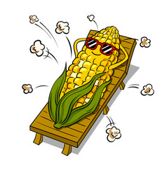 corn tans on beach pop art vector image