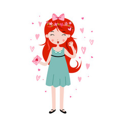 cute girl holding love letter template for vector image vector image