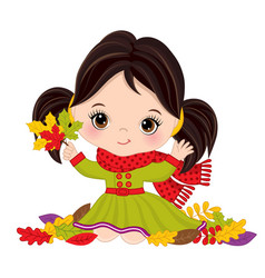 cute little girl with autumn leaves vector image vector image